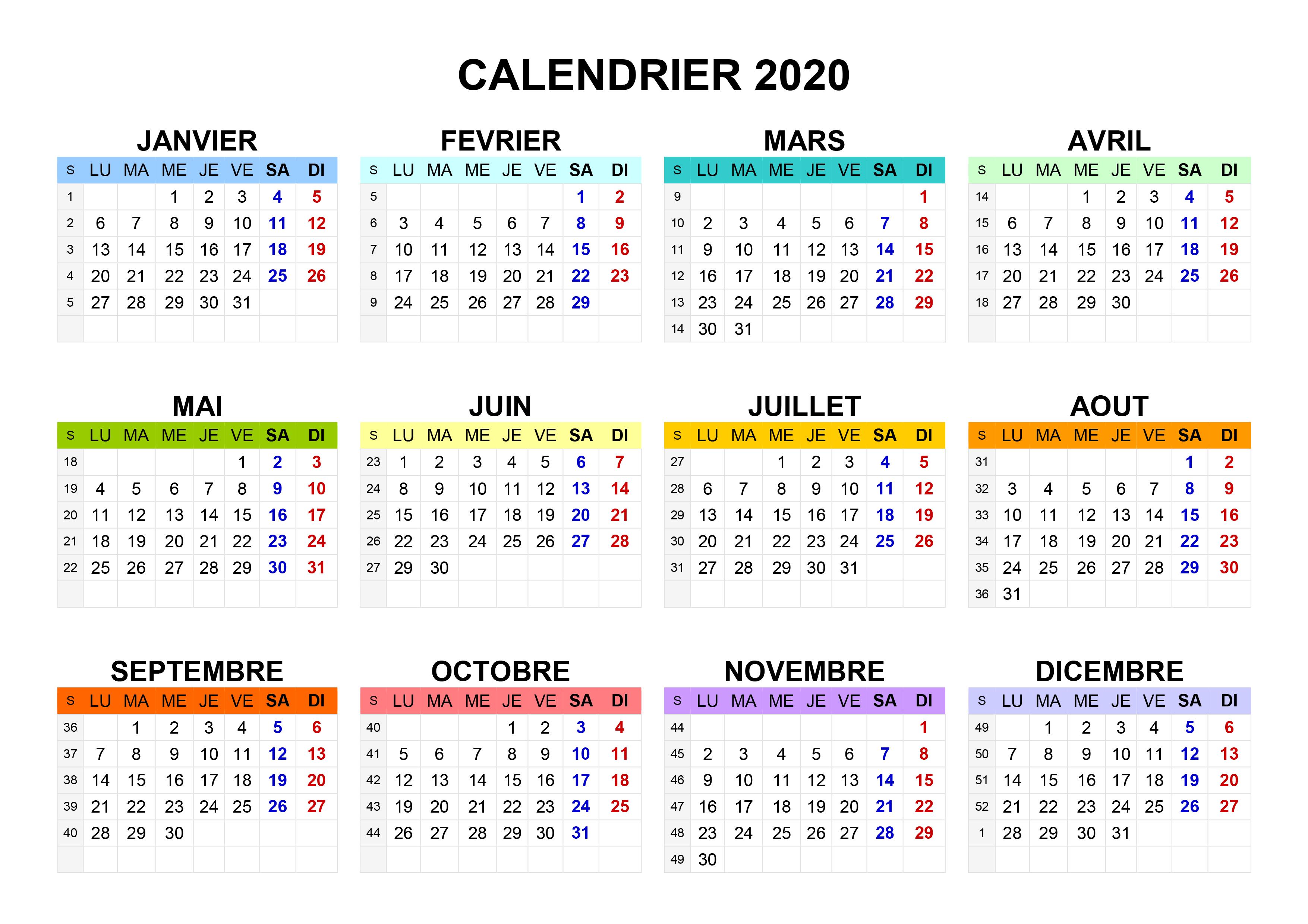 Ffcc Calendrier 2020.Calendrier A Imprimer Gratuit 2020