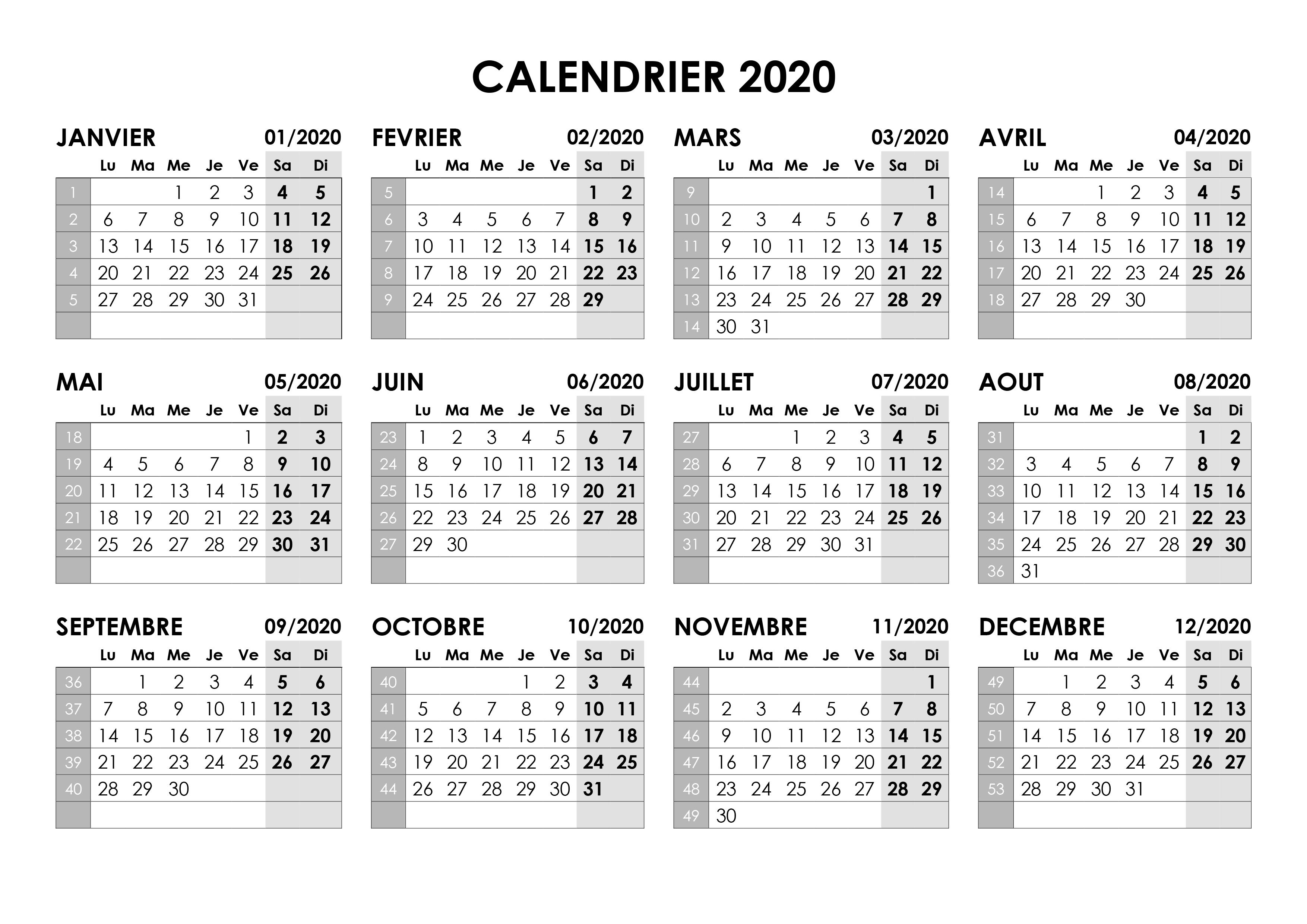 Calendrier 2020 Mensuel A Imprimer Gratuit.Calendrier Janvier 2020 Vierge A Imprimer