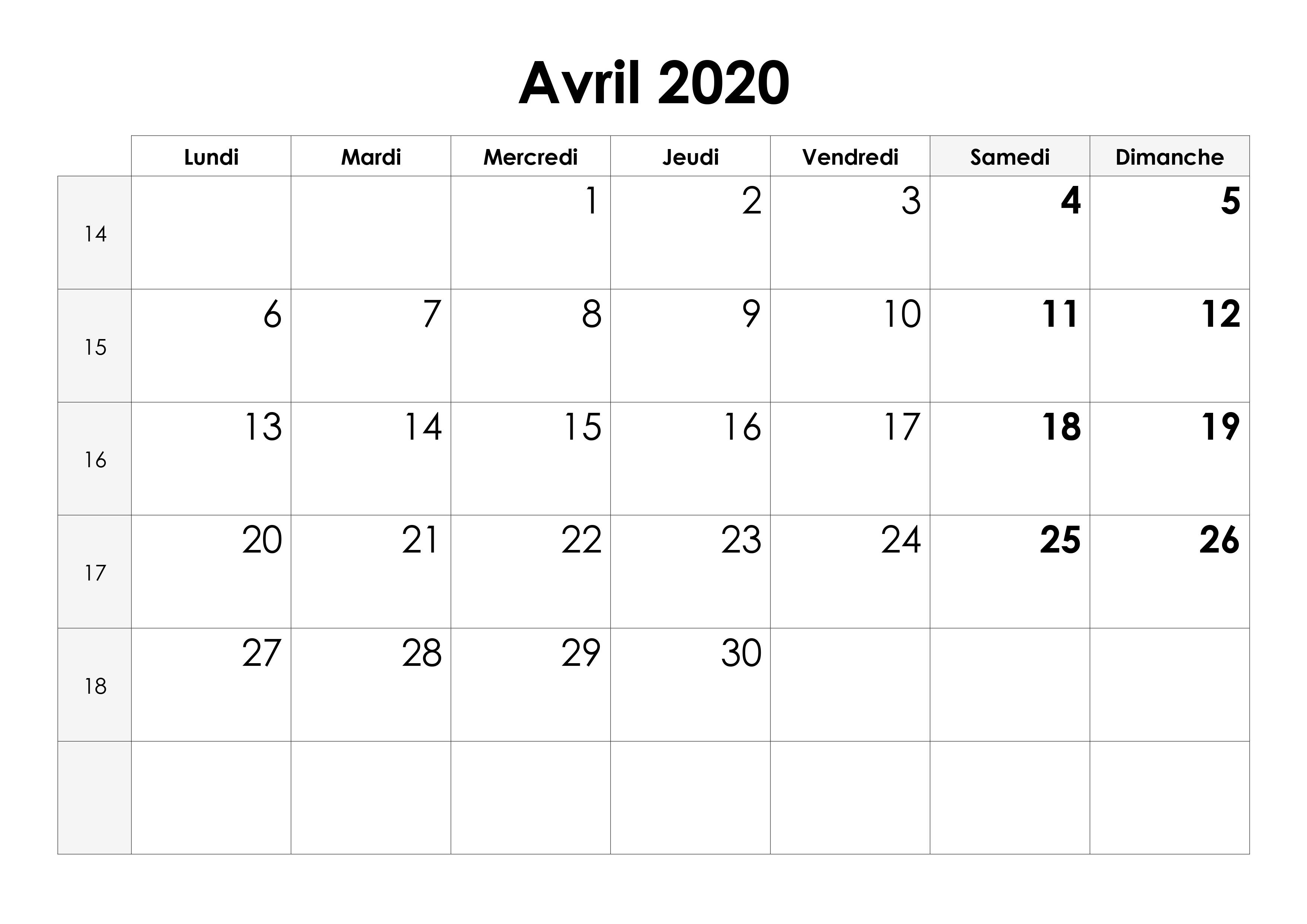 Calendrier Avril 2020 à Imprimer.Calendrier Avril 2020 Calendrier Su