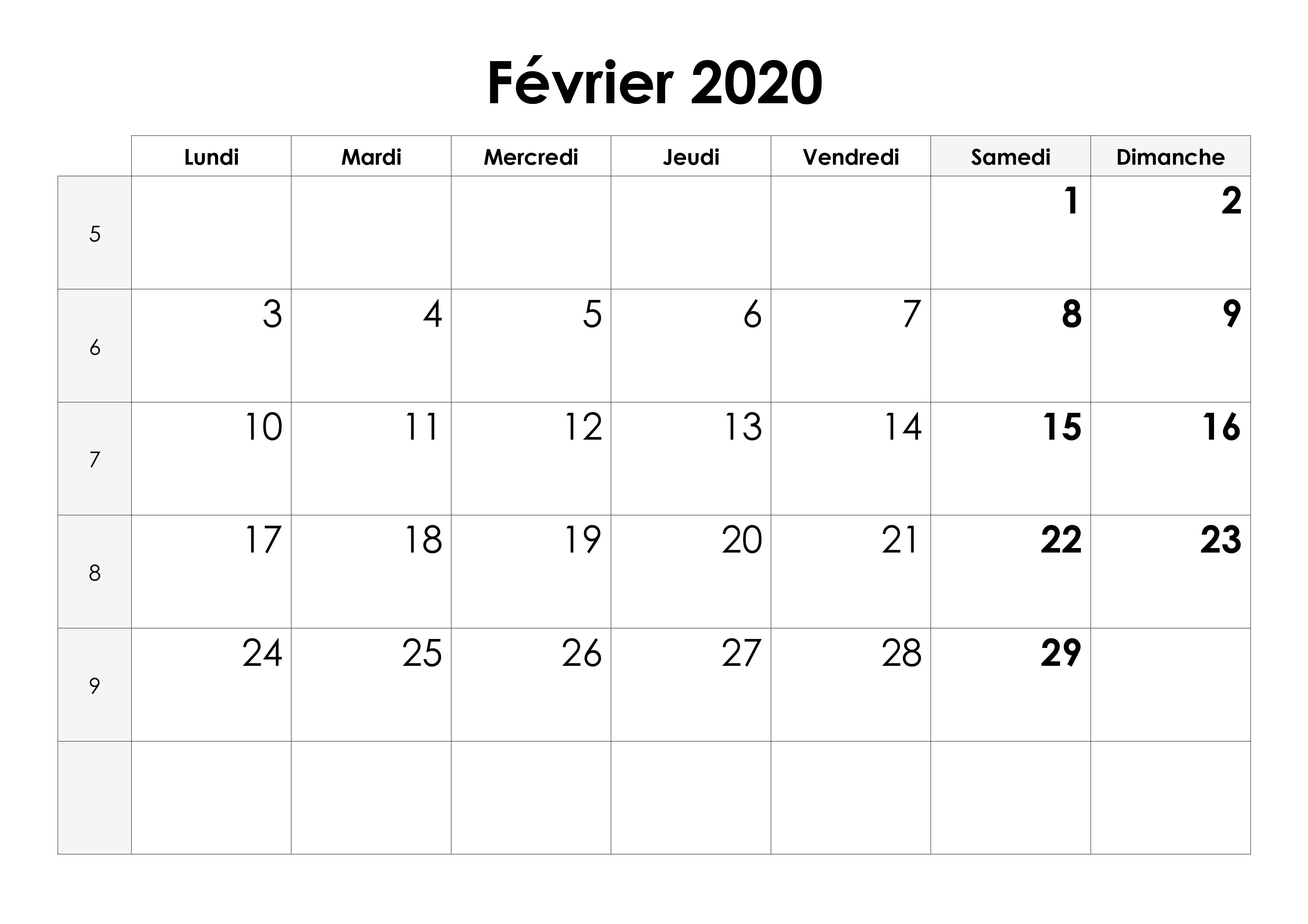 Calendrier Février 2020.Calendrier Fevrier 2020 Calendrier Su