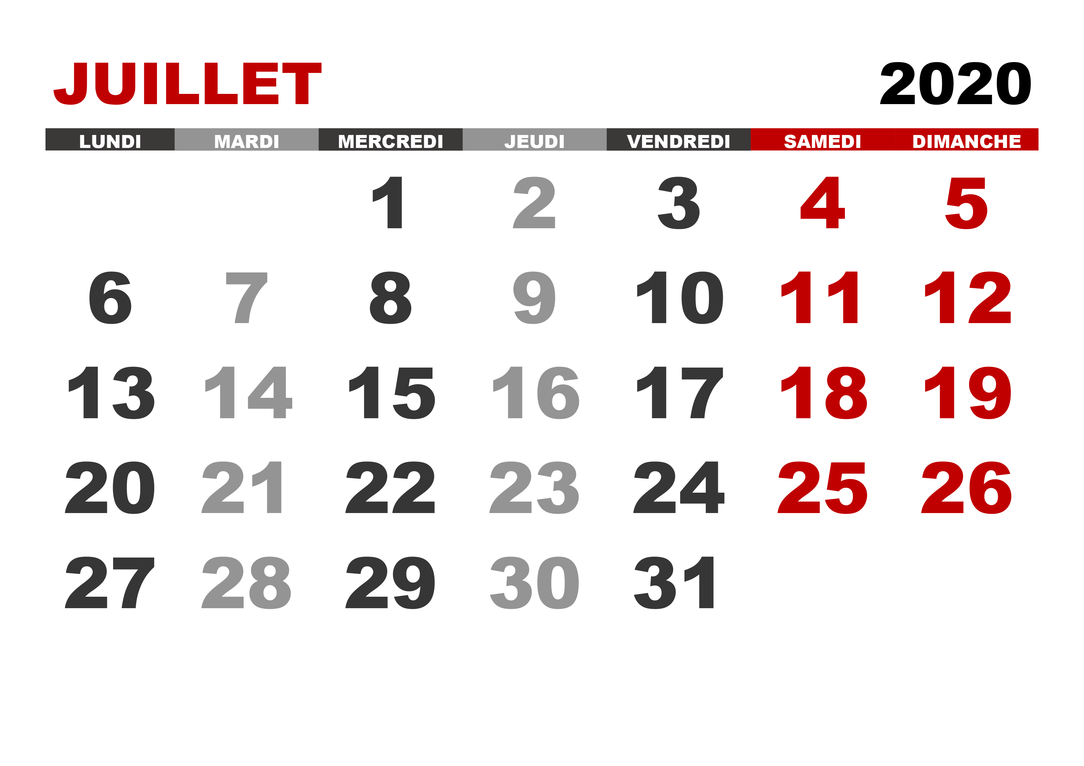 Calendrier Juillet2020.Calendrier Juillet 2020 Calendrier Su