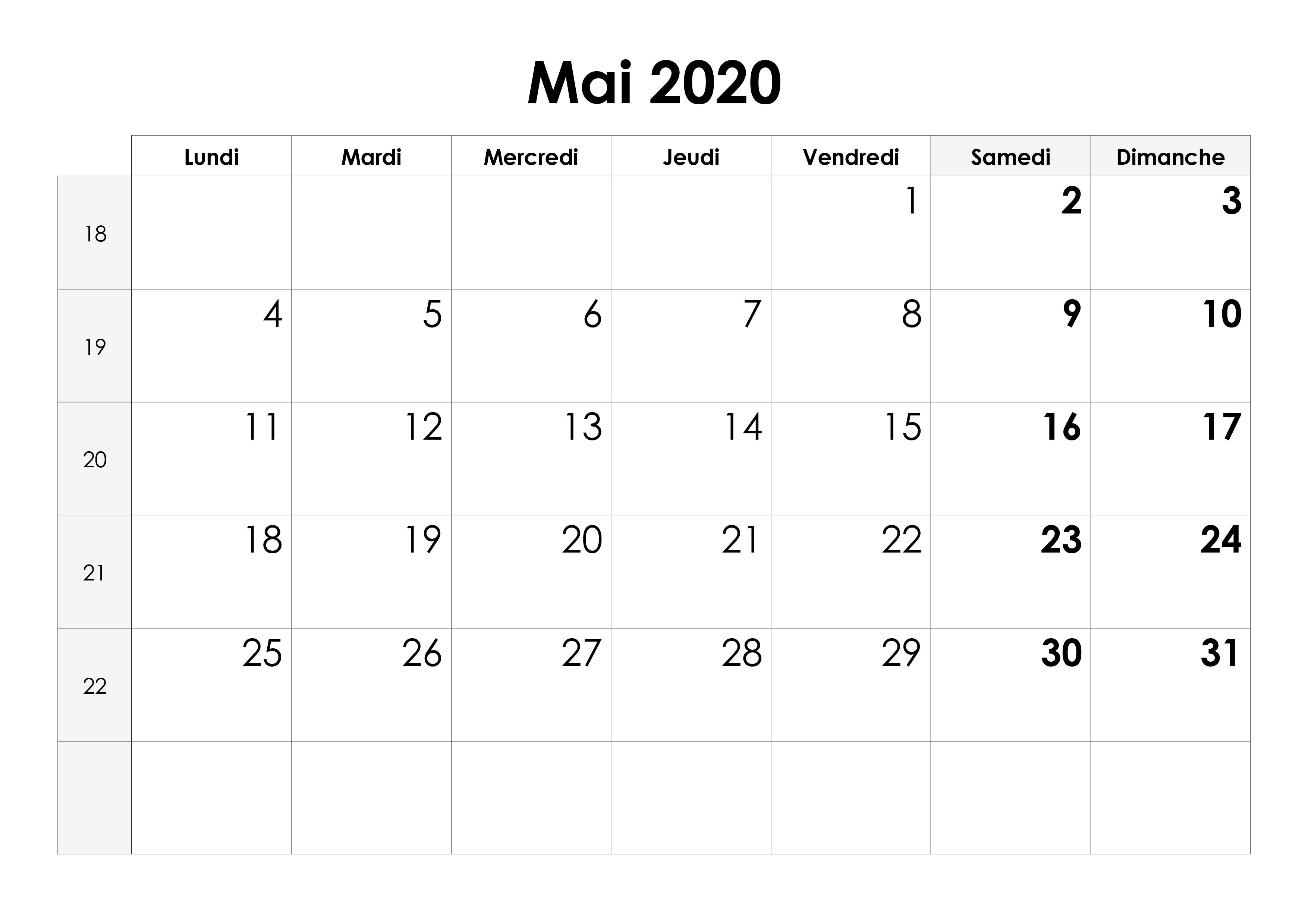 Calendrier Mai 2020 à Imprimer.Calendrier Mai 2020 Calendrier Su
