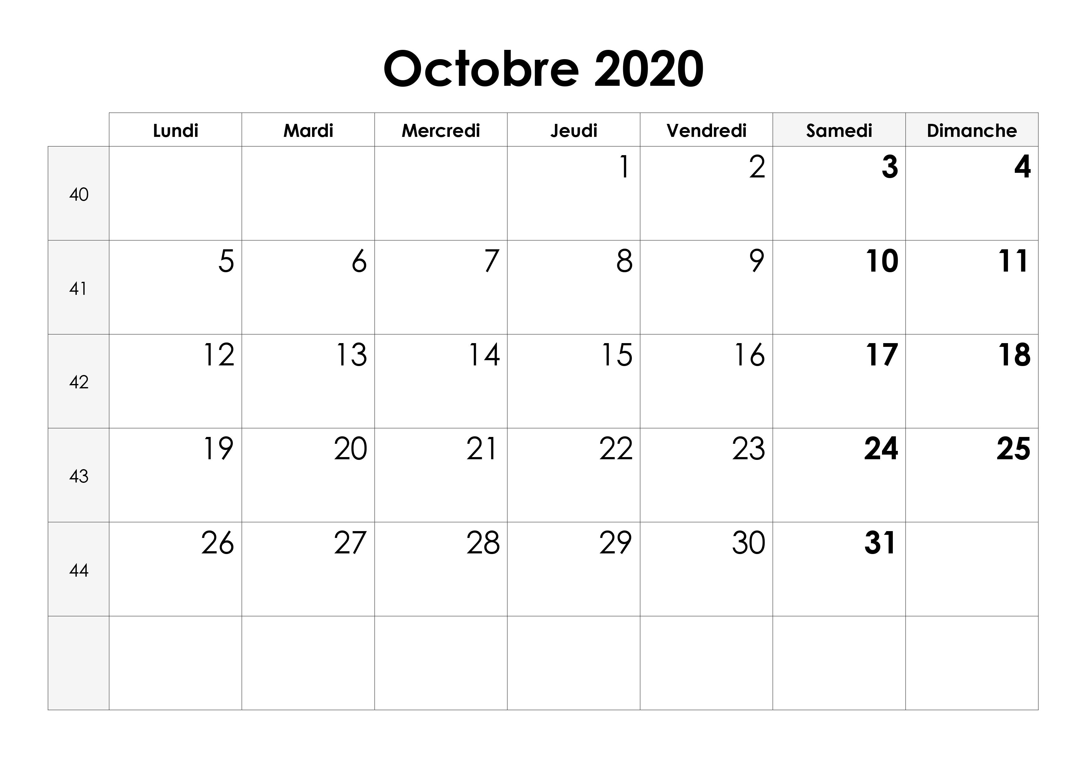 Calendrier Octobre 2020.Calendrier Octobre 2020 Calendrier Su