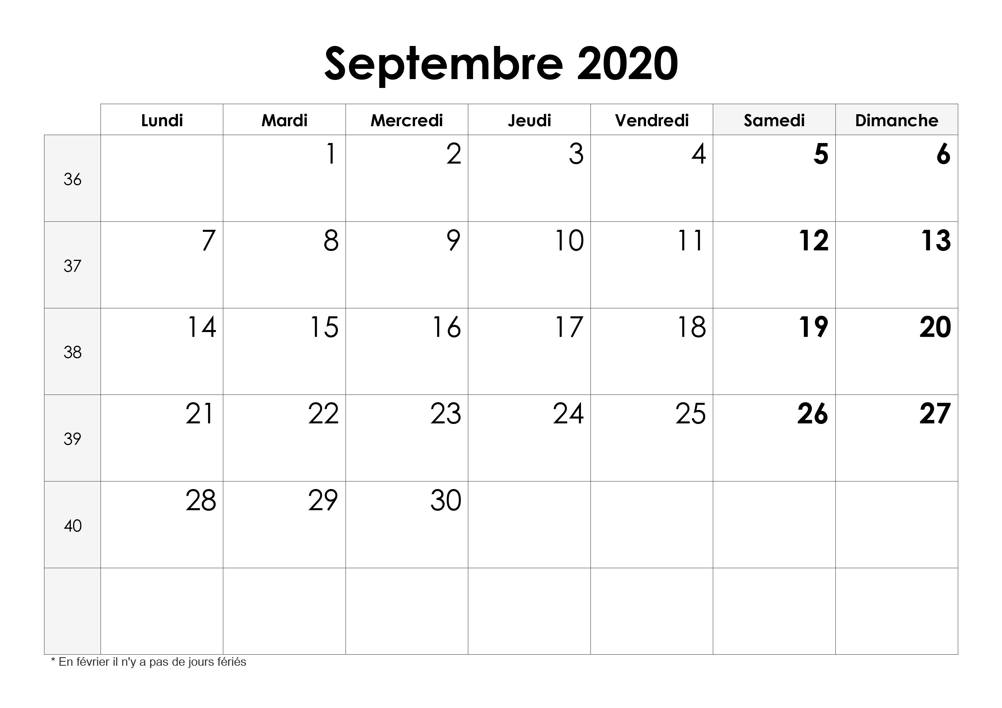 Calendrier Septembre 2020.Calendrier Septembre 2020 Calendrier Su