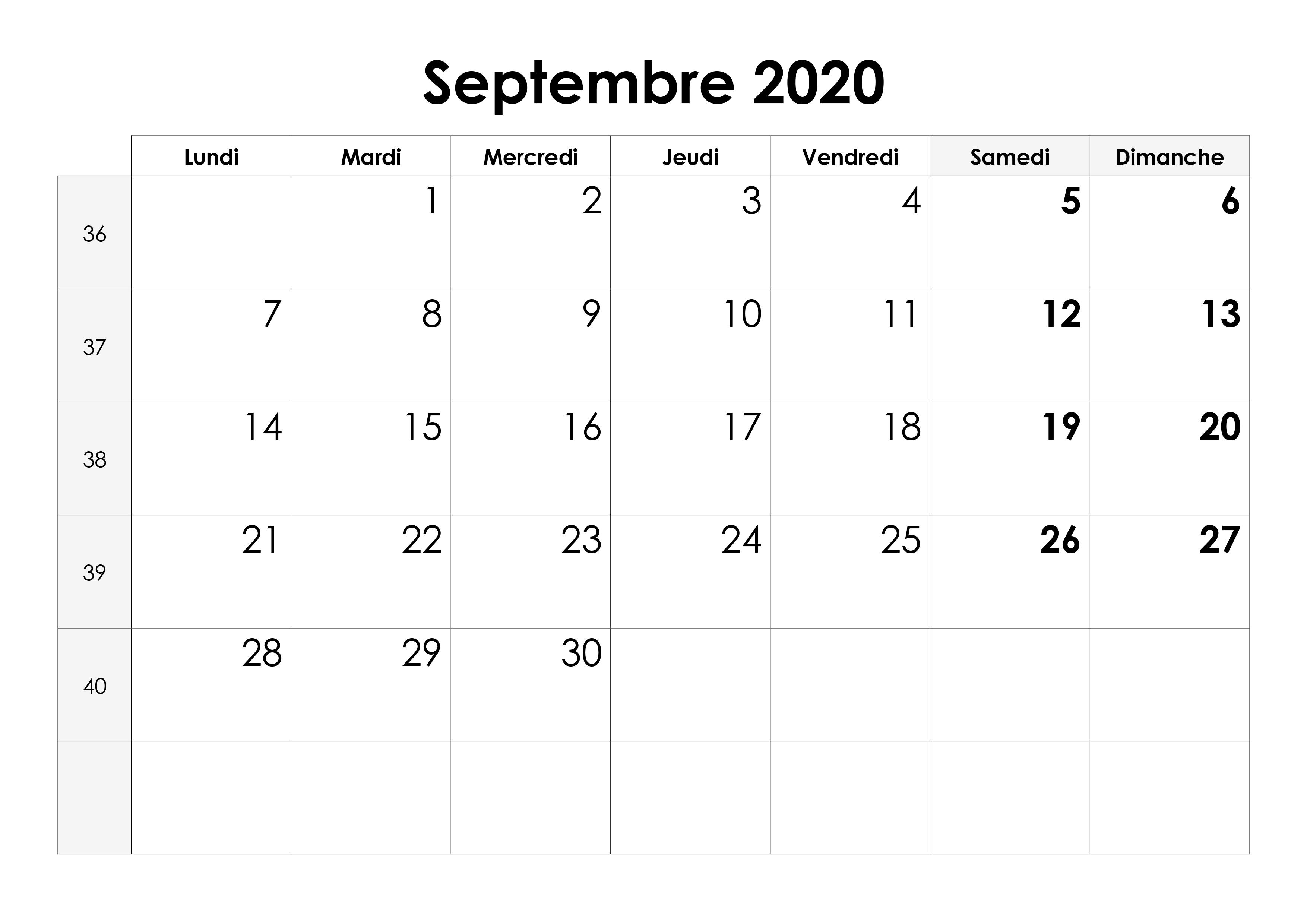 Calendrier Septembre 2020 Septembre 2019.Calendrier Septembre 2020 Calendrier Su