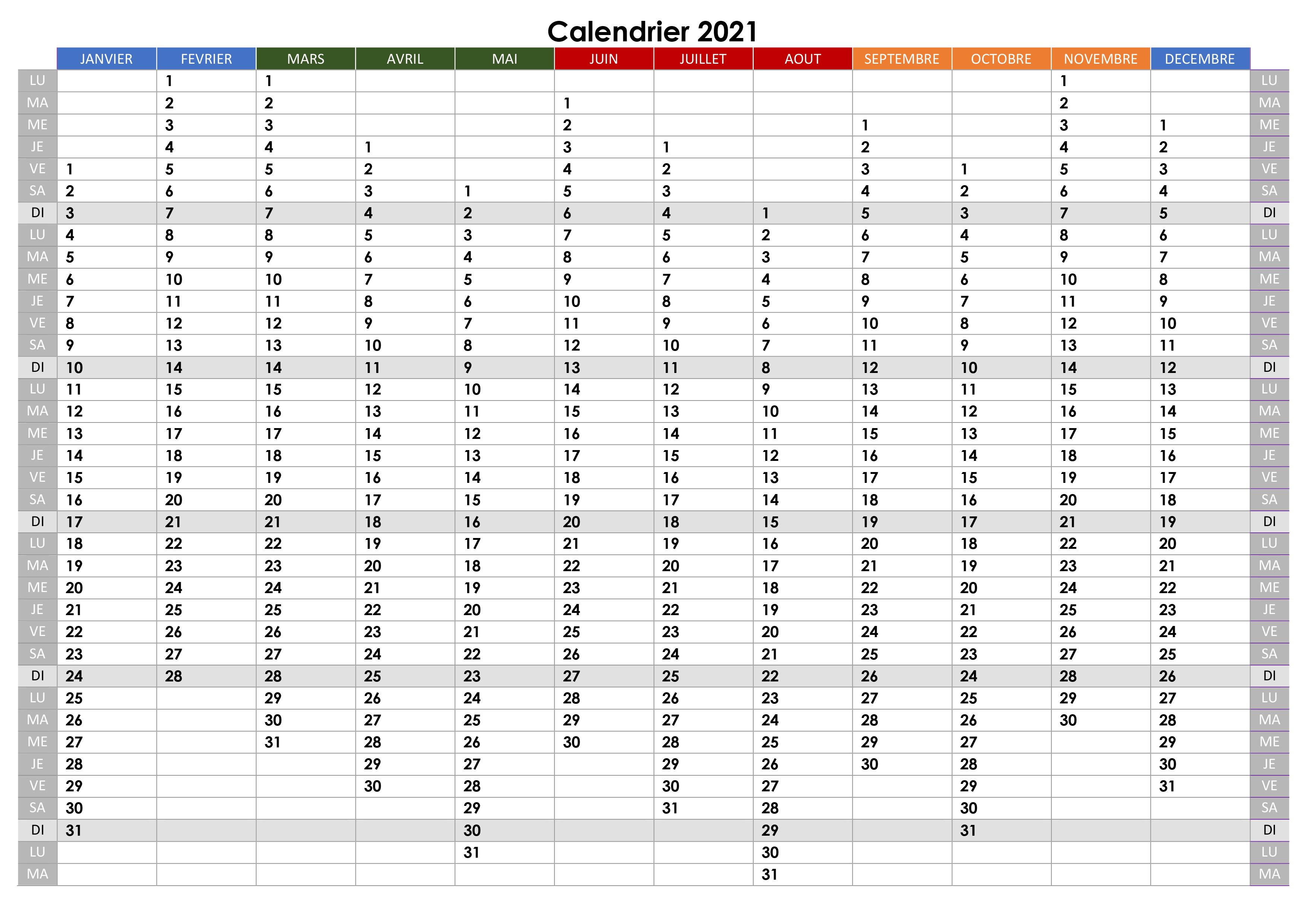 Calendrier annuel 2021 – calendrier.su