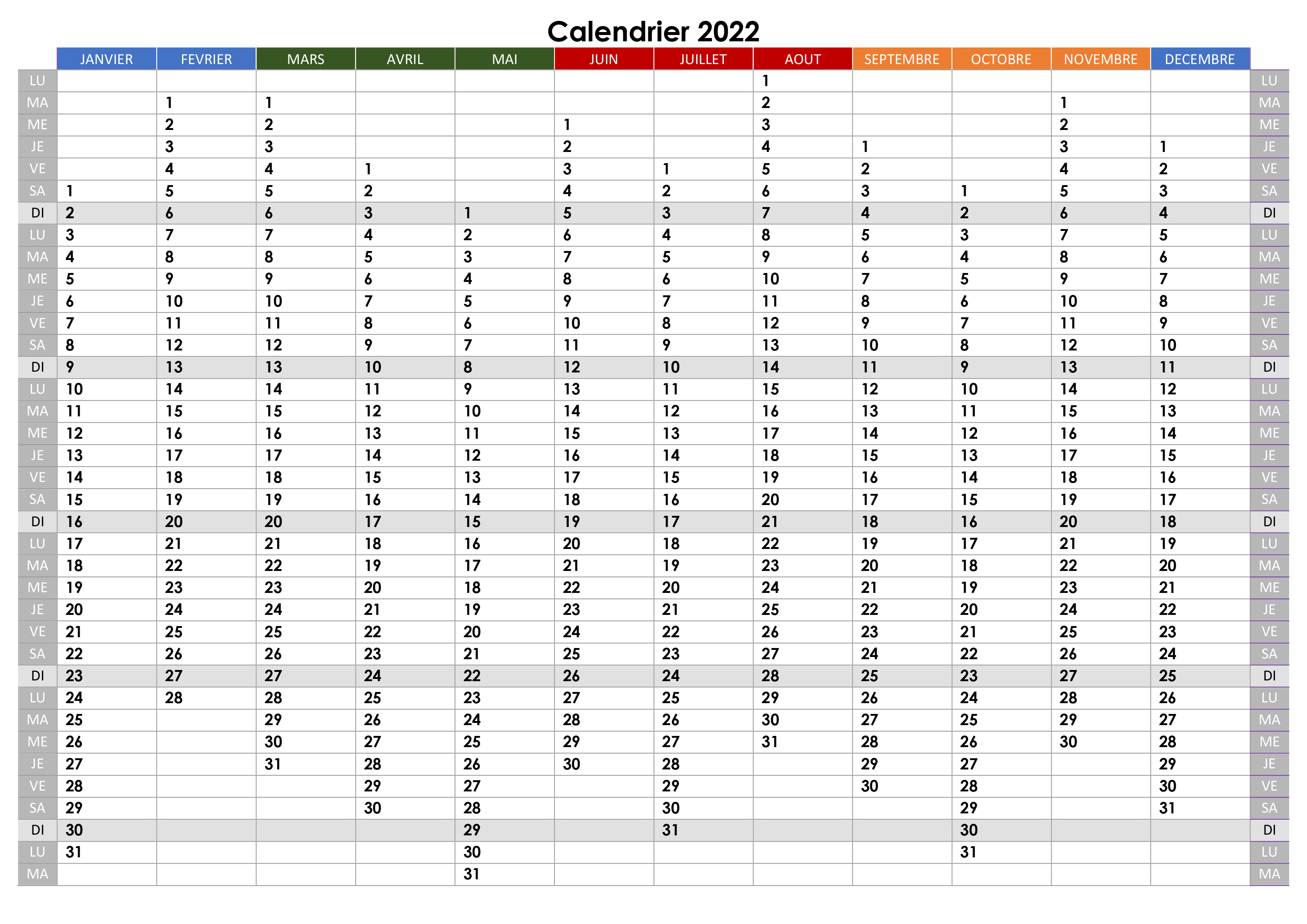 Calendrier Vierge 2022 2023 Calendrier annuel 2022 – calendrier.su