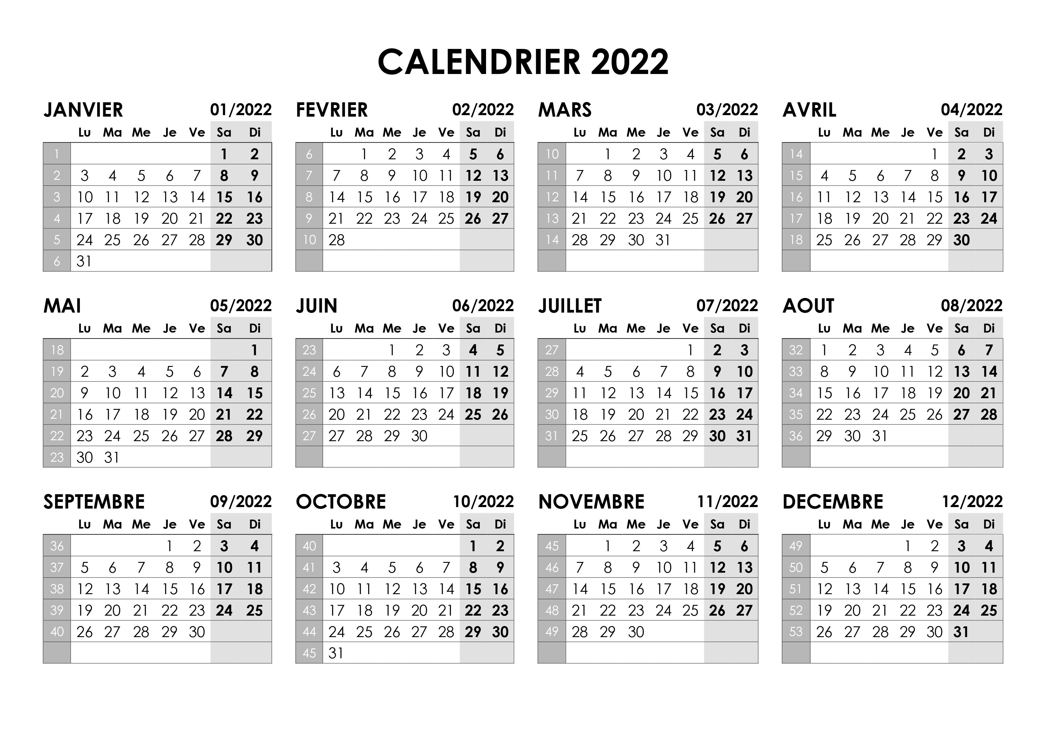 Calendrier 2022 Format A4 Calendrier annuel 2022 – calendrier.su