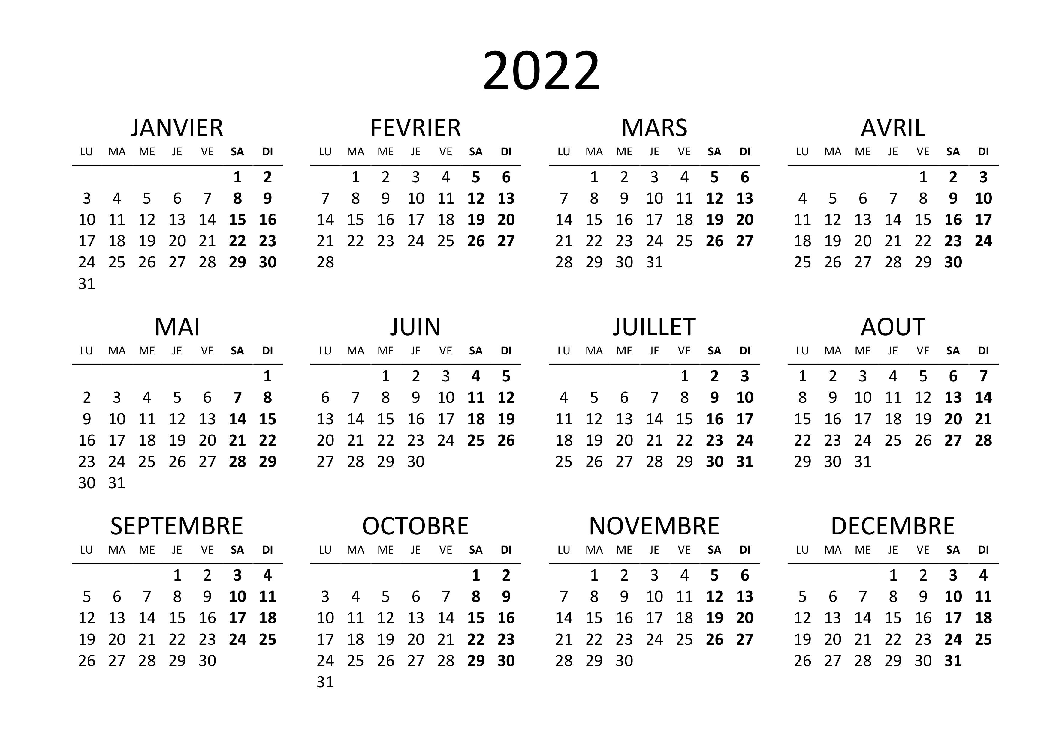 Calendrier 2022 Png Calendrier annuel 2022 – calendrier.su