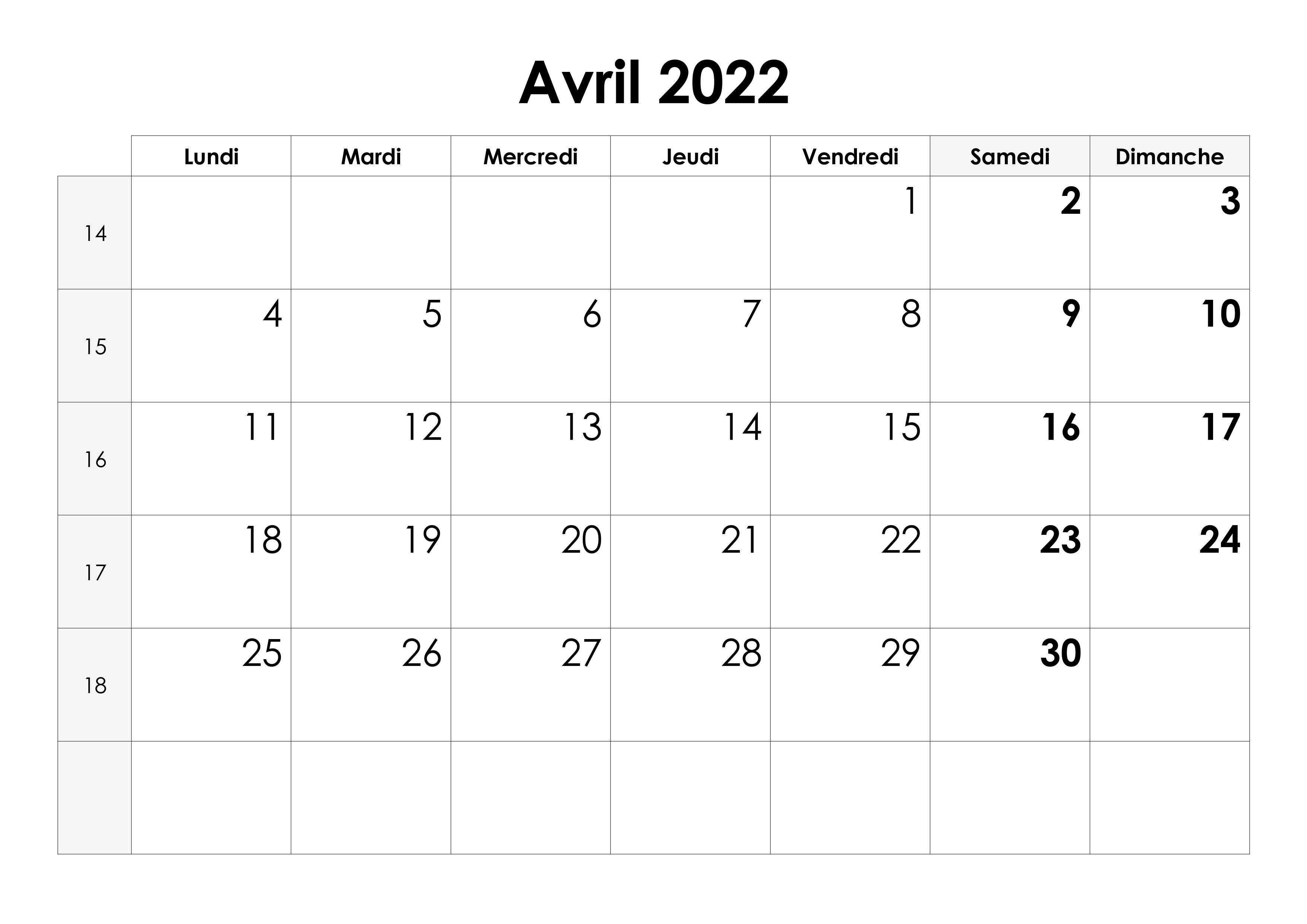 Calendrier Avril 2022 Pdf Calendrier avril 2022 – calendrier.su