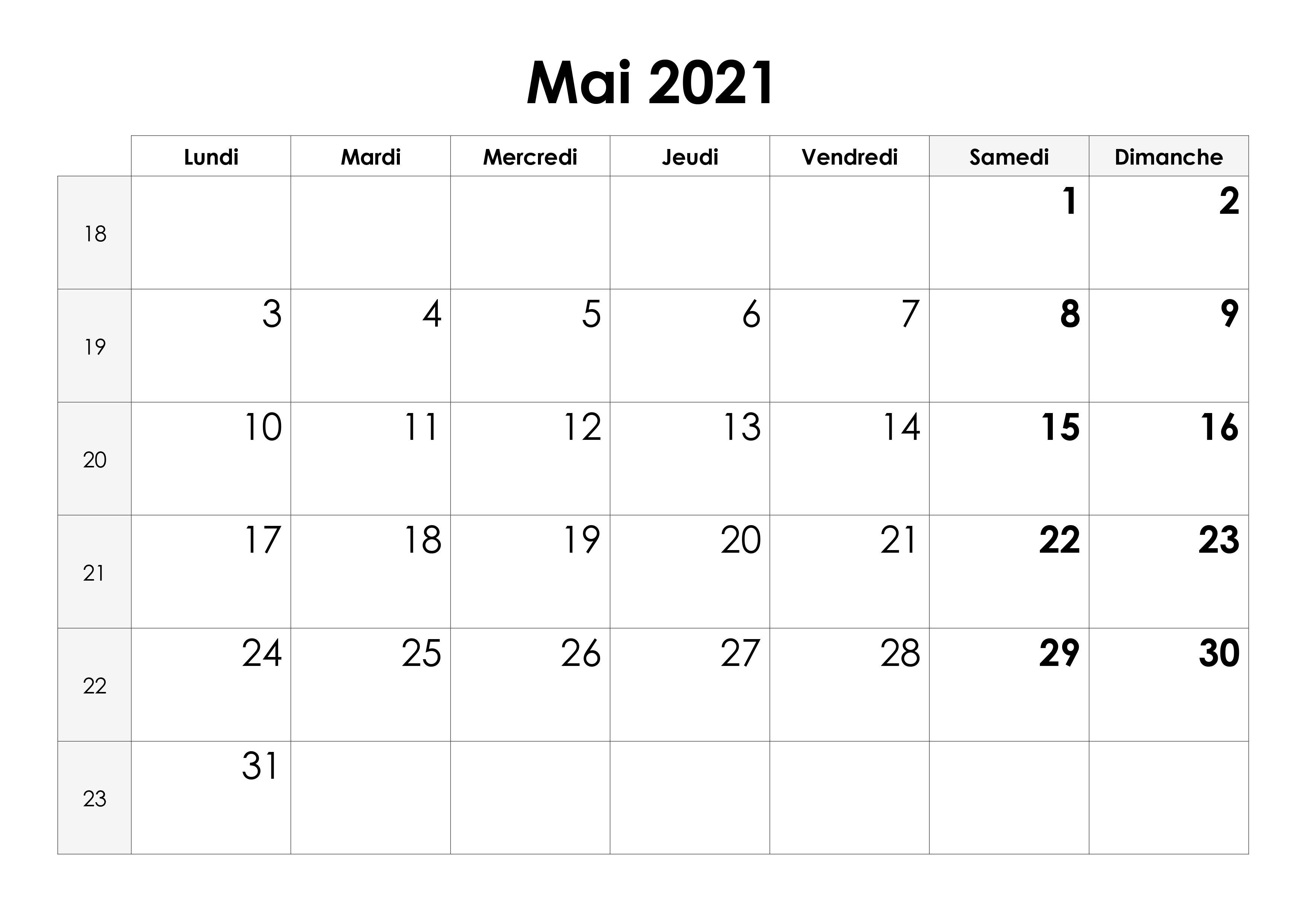 Calendrier mai 2021 – calendrier.su