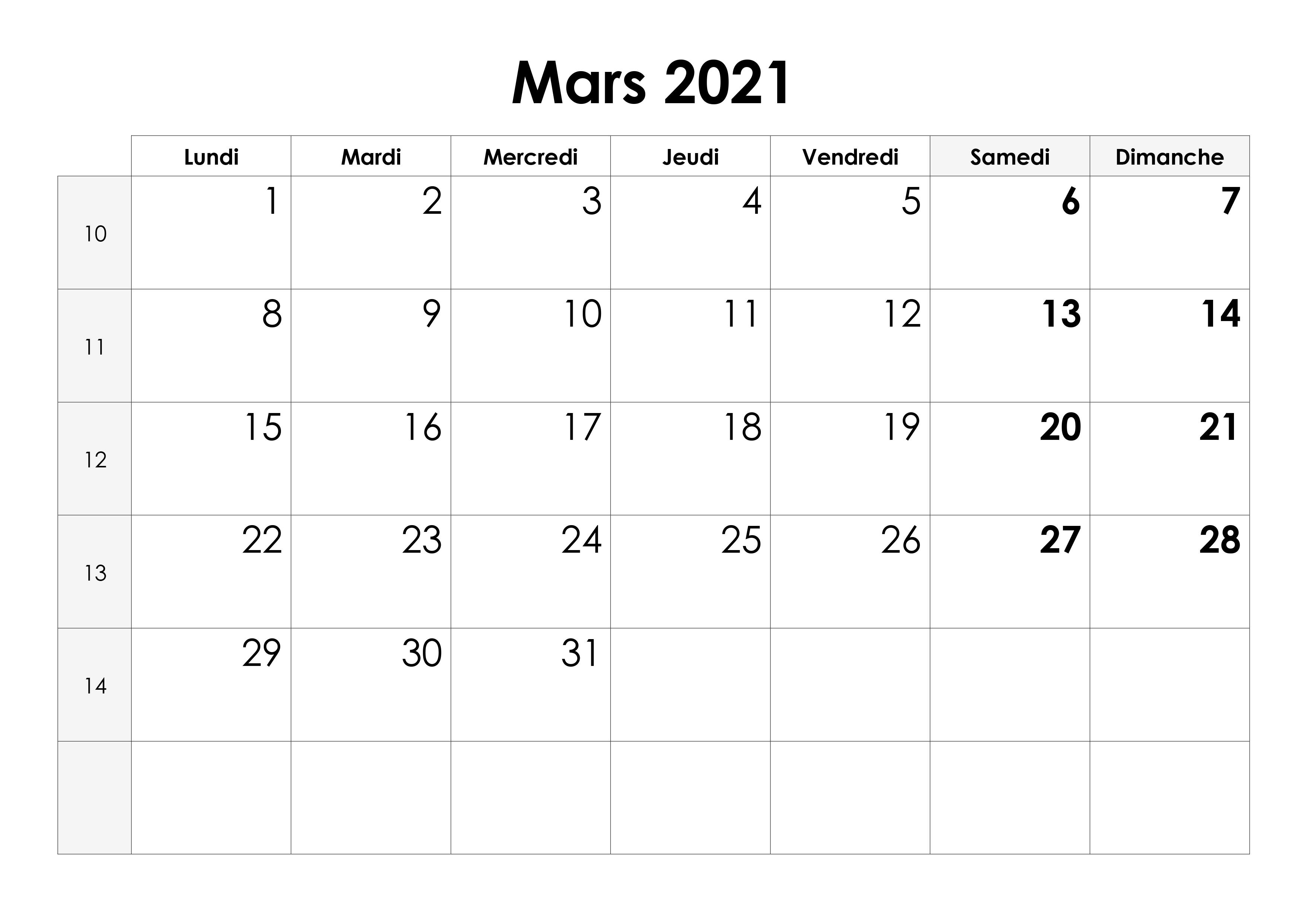 Calendrier Mois De Mars 2021 Calendrier mars 2021 – calendrier.su