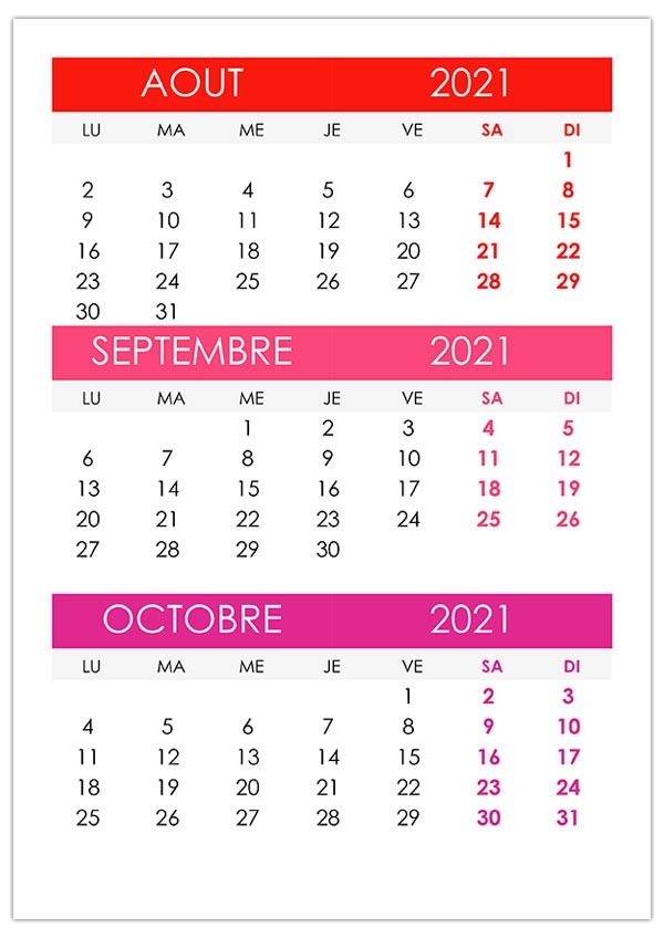 Calendrier août, septembre, octobre 2021 – calendrier.su