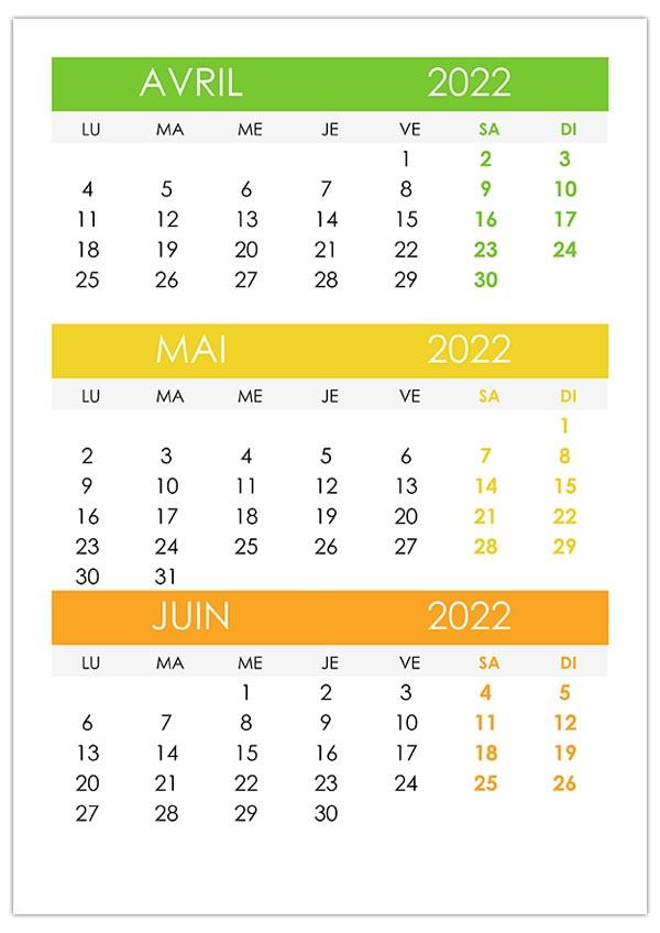 Calendrier Avril Mai Juin 2022 à Imprimer Calendrier avril, mai, juin 2022 – calendrier.su