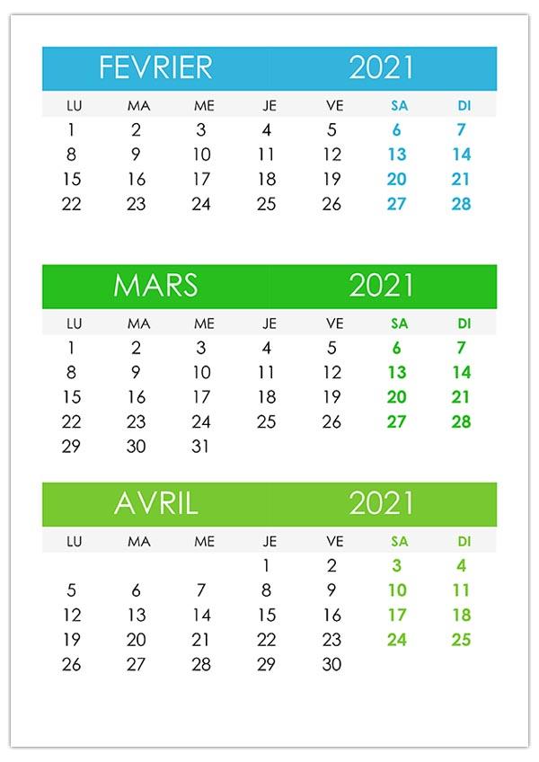 Calendrier Janvier Fevrier Mars 2021 Février – calendrier.su
