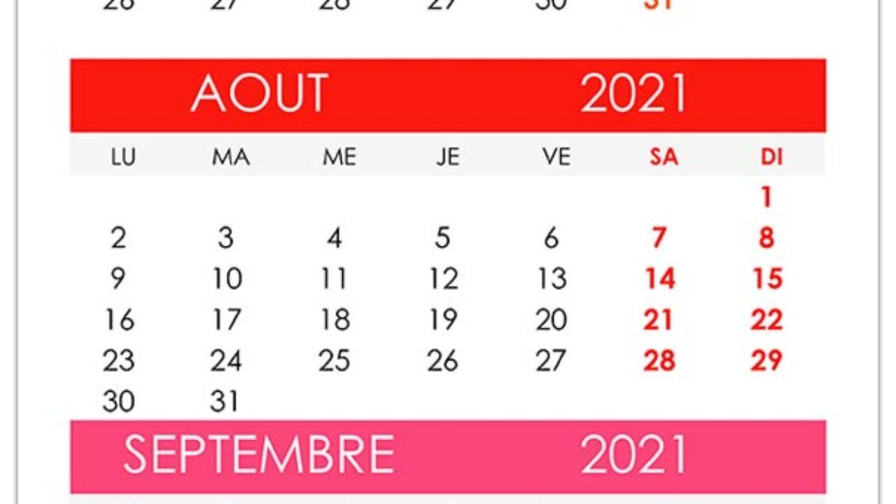 Calendrier juillet, août, septembre 2021 – calendrier.su