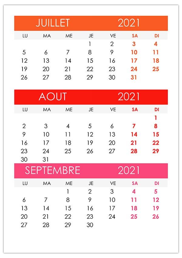 Calendrier Septembre 2021 à Aout 2021 Calendrier juillet, août, septembre 2021 – calendrier.su