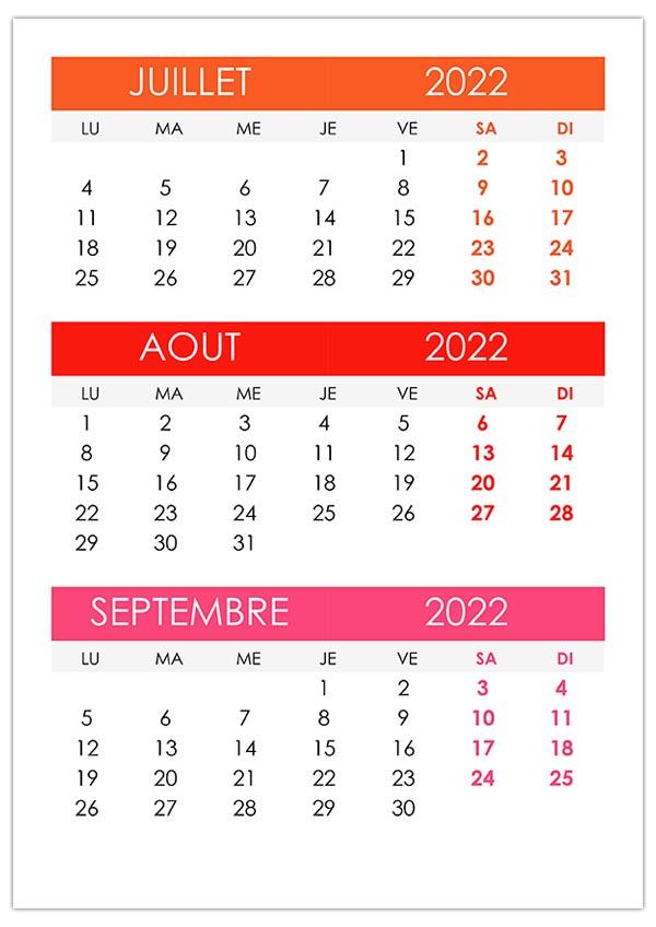 Calendrier juillet, août, septembre 2022 – calendrier.su