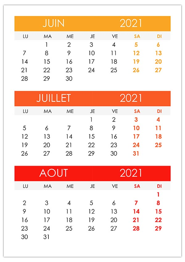 Calendrier 2021 Juin Juillet Aout Calendrier juin, juillet, août 2021 – calendrier.su