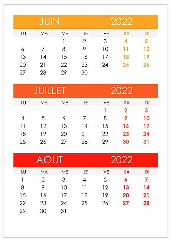 Calendrier Juin Juillet Aout 2022 Calendrier juin, juillet, août 2022 – calendrier.su