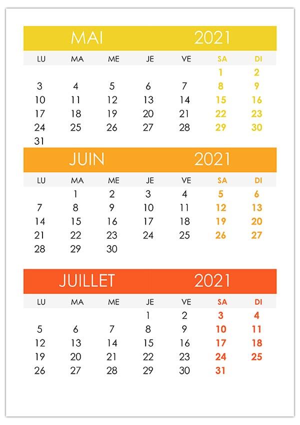 Calendrier Mai Juin Juillet 2021 Calendrier mai, juin, juillet 2021 – calendrier.su