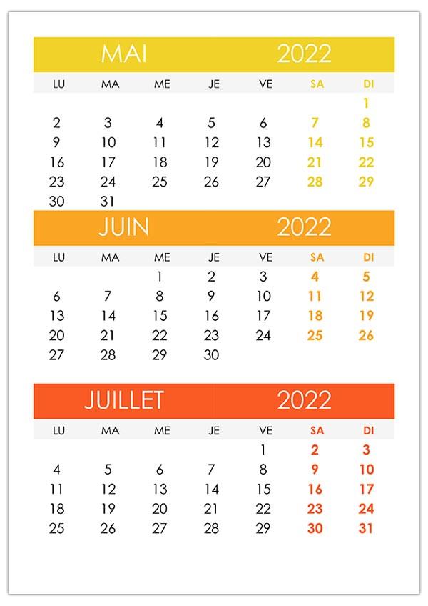Calendrier Mai Juin 2022 Calendrier mai, juin, juillet 2022 – calendrier.su