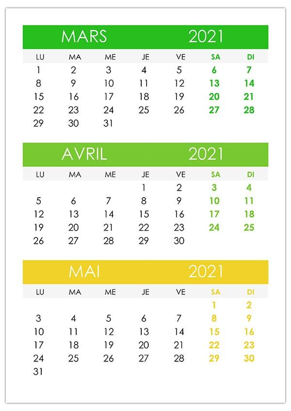 Mars – calendrier.su