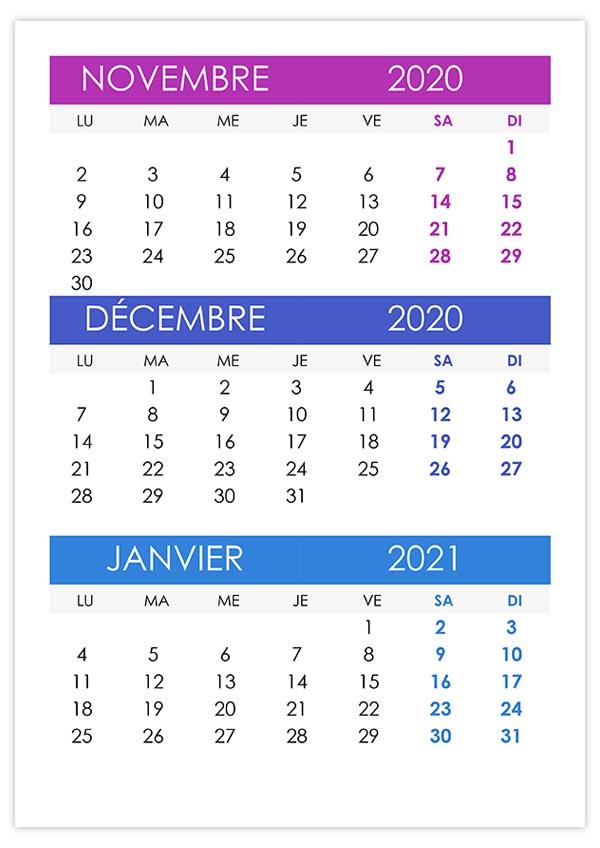 Calendrier novembre, décembre 2020, janvier 2021 – calendrier.su