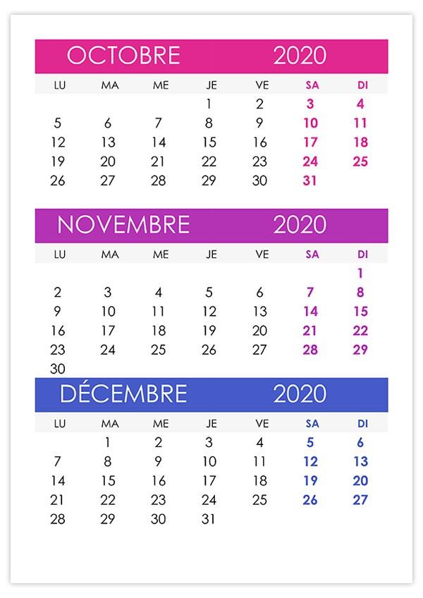 Calendrier octobre, novembre, décembre 2020 – calendrier.su