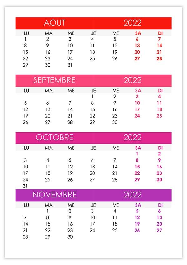 Calendrier Aout Septembre 2022 Calendrier août, septembre, octobre, novembre 2022 – calendrier.su