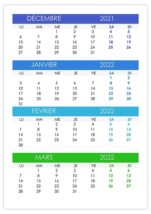 Calendrier décembre 2021, janvier, février, mars 2022 – calendrier.su