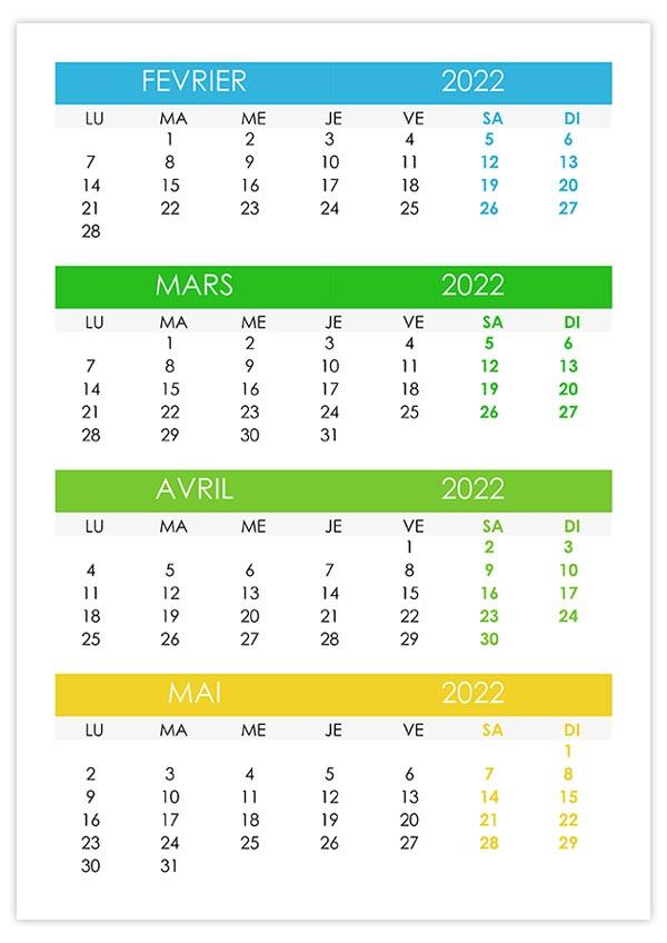 Calendrier Février Mars 2022 Calendrier février, mars, avril, mai 2022 – calendrier.su