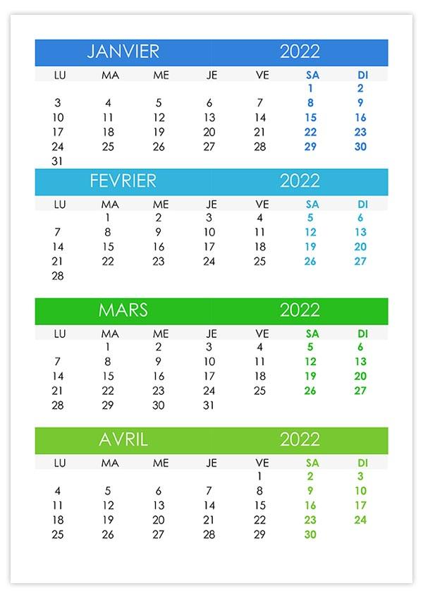 Calendrier janvier, février, mars, avril 2022 – calendrier.su