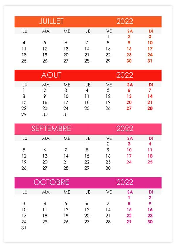 Calendrier 2022 Juillet Aout Calendrier juillet, août, septembre, octobre 2022 – calendrier.su