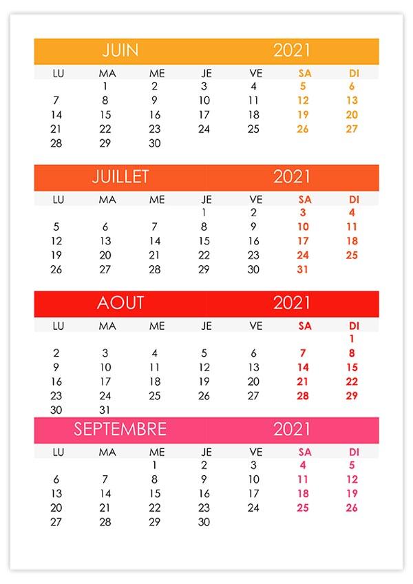 Calendrier Juin Juillet Aout Septembre 2022 Calendrier juin, juillet, août, septembre 2021 – calendrier.su