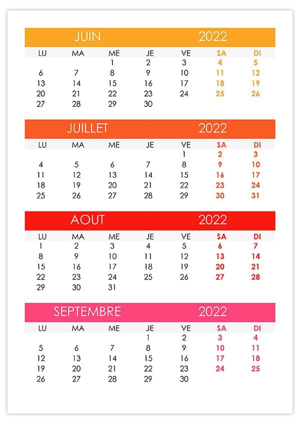 Calendrier Juin Juillet Aout 2022 Calendrier juin, juillet, août, septembre 2022 – calendrier.su