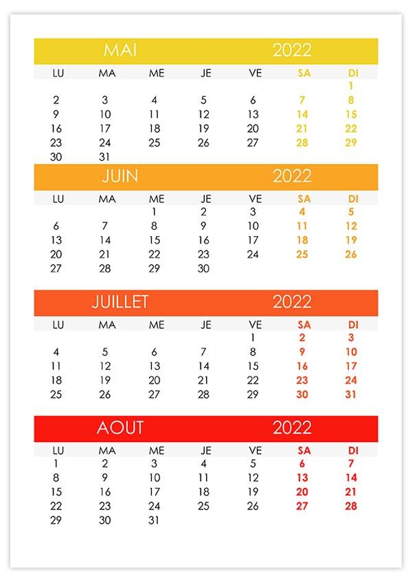 Calendrier 2022 Juin Juillet Aout Calendrier mai, juin, juillet, août 2022 – calendrier.su