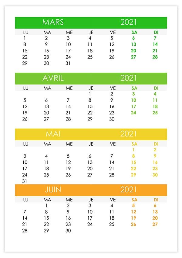 Calendrier mars, avril, mai, juin 2021 – calendrier.su