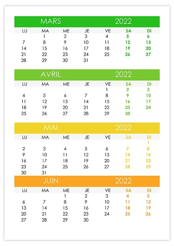 Calendrier Avril Mai Juin 2022 Calendrier mars, avril, mai, juin 2022 – calendrier.su