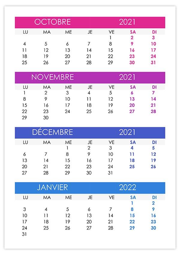 Calendrier octobre, novembre, décembre 2021, janvier 2022